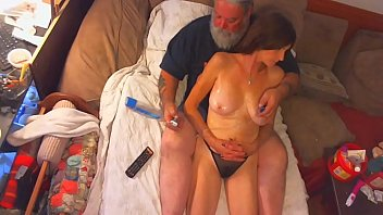 Old Man With Erect Cock Excites The Milf Who Masturbates With Dildo