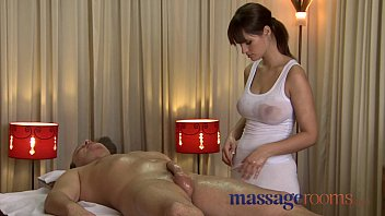 Massage Rooms Rita oils up her enormousjuicy breasts fuck fucked big throbbing cock