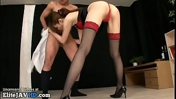 Japanese girl with beautiful legs has sex in stockings