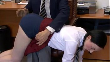 Schoolgirl  Spanked by Headmaster