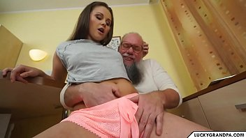 cute babe blows old man's Thumb
