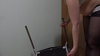 The chair fucks my hairy pussy and anal, perverted masturbation.