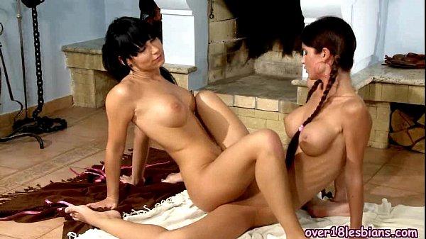 Teen Brunette Lesbians Tribbing And Licking