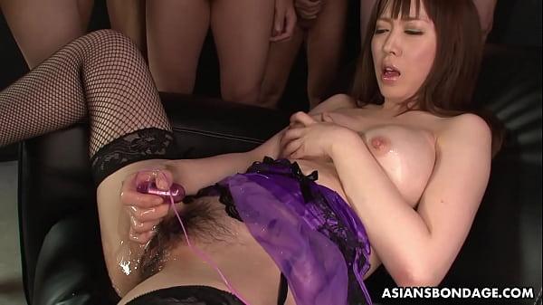 Hot Sayaka Tsuji is masturbating in front of many guys