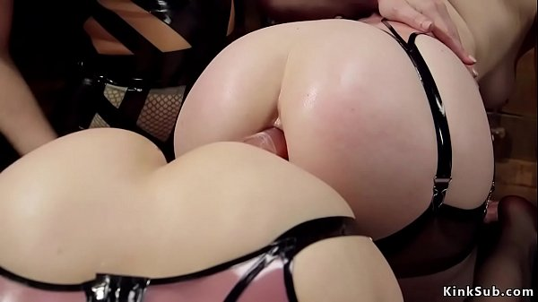 Anal lesbians sharing double ended dildo