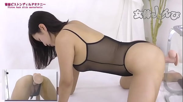 hot japanese babe banging a mounted dildo
