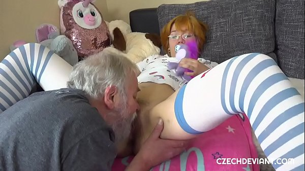 Old perv gets off with girl with glasses