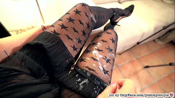 CFNM Handjob HUGE Cumshot Sexy Teacher Stocking...
