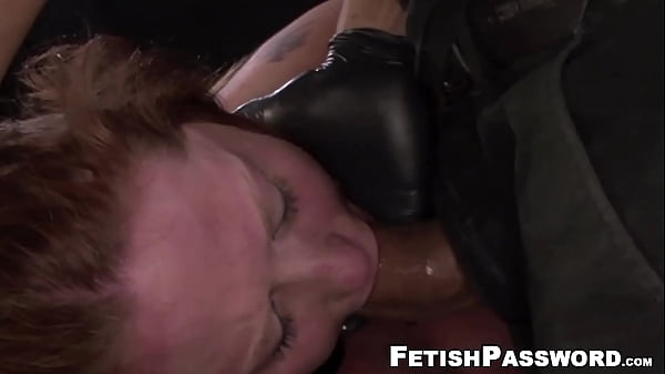 Curvy sub restrained for mouth and pussy domination