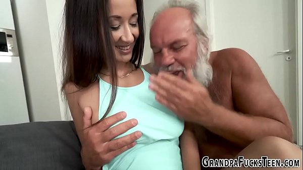 Teen dribbles old man cum onto her tits