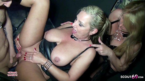 Two German Femdom MILFs Fuck Slave in Latex Threesome