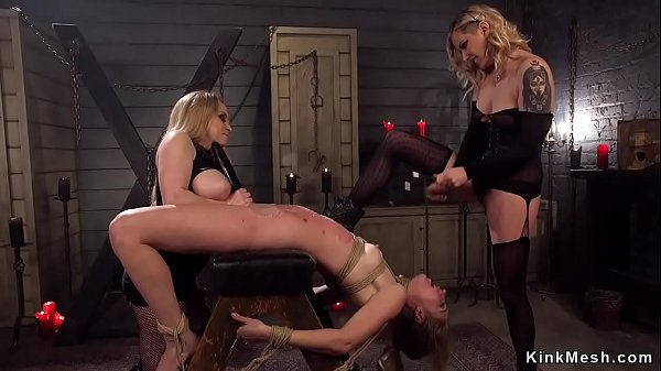 Blonde ass whipped in threesome lezdom Thumb