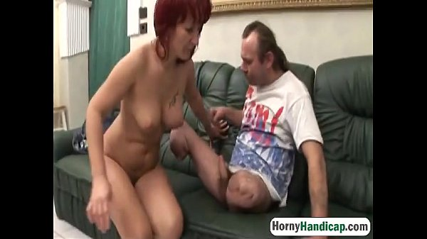 Sexy redhead caregiver with big tits slammed by an amputeeman-hi-1
