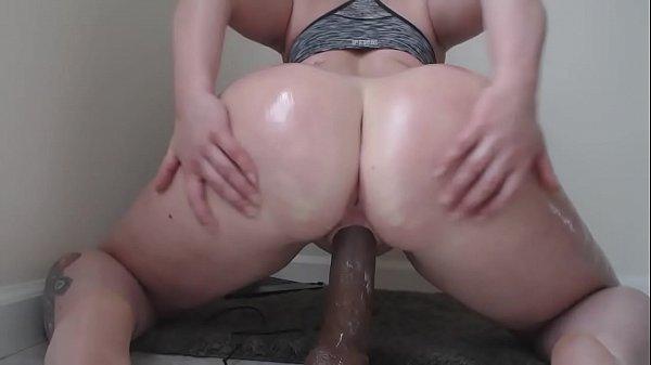 Big Booty pawg rides dark dildo