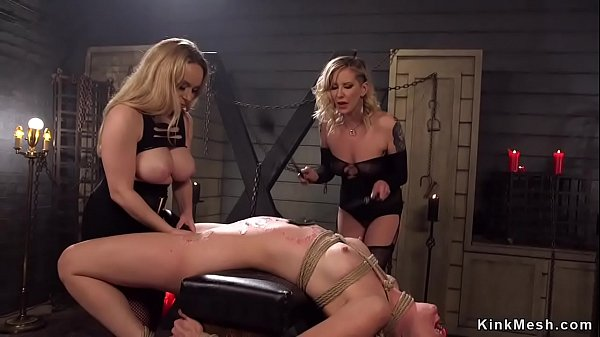 Two dommes waxing and anal fucking lesbian