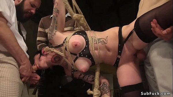 Tattooed sub stuffed with big dicks orgy