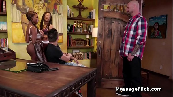 Drilling two black oiled masseuses at once  thumbnail