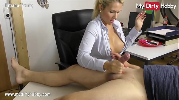 MyDirtyHobby - Busty secretary gives her boss a handjob at the office while smoking