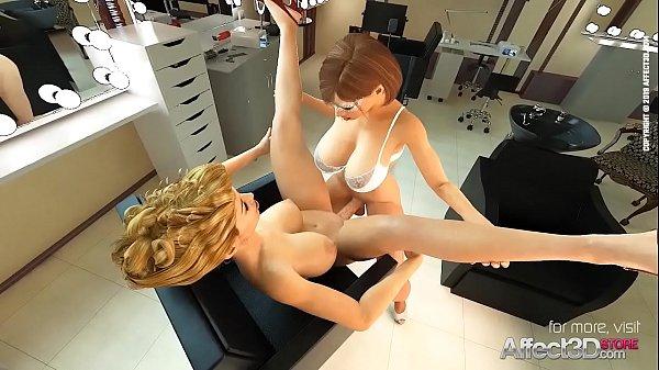 Lesbian futanari sex in the dressing room
