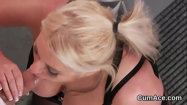 Wacky bombshell gets sperm load on her face gulping all the charge