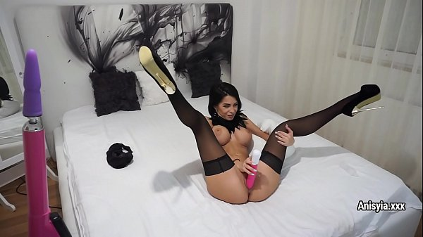 Anisyia in black stockings plays with her wet cunt