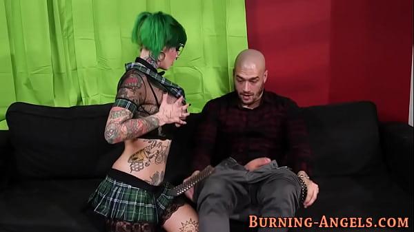 Tattooed scene slut rides