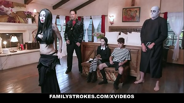 FamilyStrokes - Costumed Teen (Kate Bloom) And Milf (Audrey Noir) Get Fucked Hard And Rough For Halloween Thumb