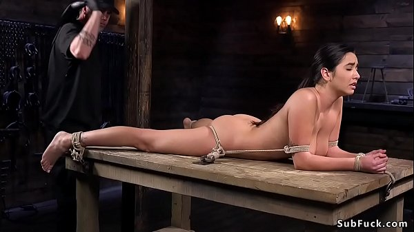 Busty hairy submissive babe in hogtie