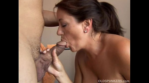Beautiful busty old brunette spunker loves to suck cock