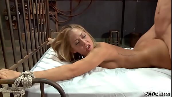 Bound blonde fucked deep in her ass