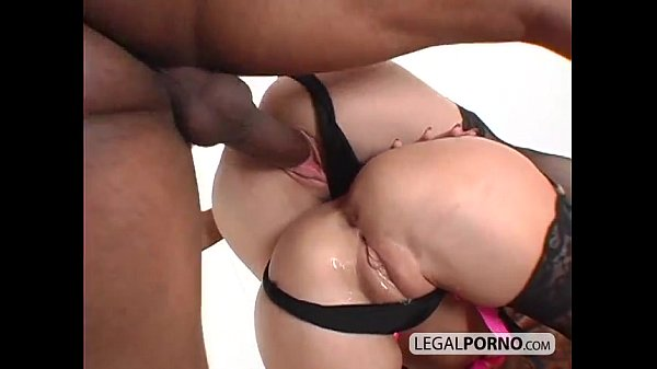 Two horny chicks in stockings getting fucked by a black cock GB-13-01