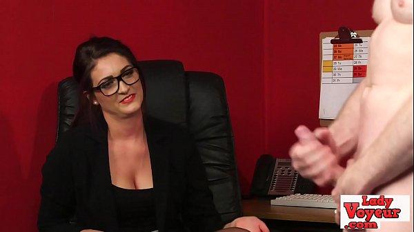 Spex babe watches femdom loser wank