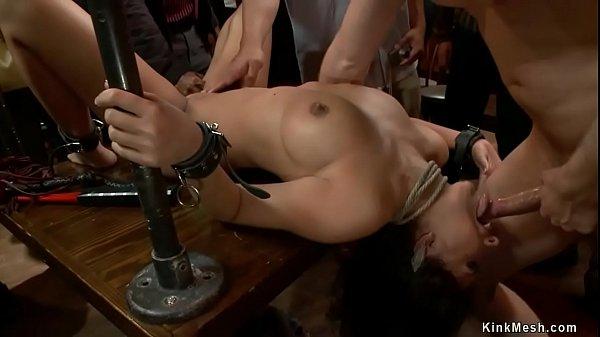 Busty slave fucked in public bondage