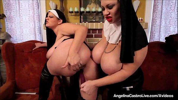 BBW Nuns Angelina Castro & Sam 38G Spank & Fuck...