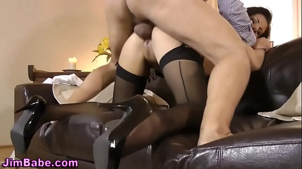 Stokings babe spits cum