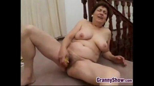 Horny Granny Masturbates With A Banana