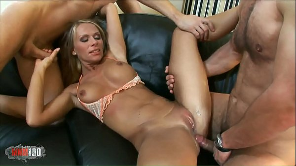 Gorgeous naughty milf banged in DP by her neighbour and his son