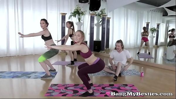 Horny Perv Tag Fucks Naughty Teen Sluts During Yoga Class