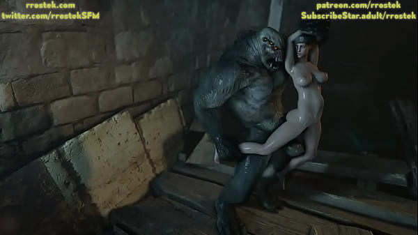 Jill Valentine stomach bulged by big Monster