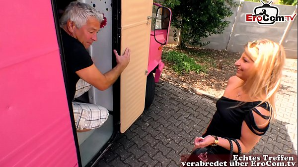 German skinny milf hooker fucks old man in car