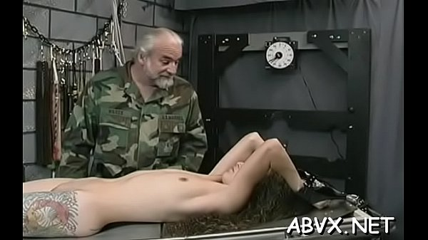 Undressed woman extreme bondage at home with horny man