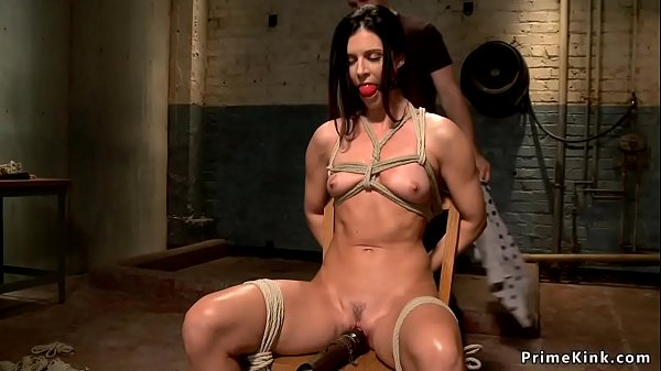 Chair bondage and vibrator between legs