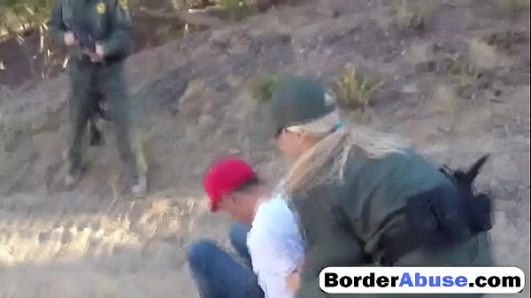 Shameless amateur sluts get fucked hard in three way with border patrol agent