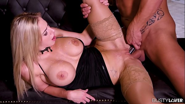 Busty lovers go kinky and stuff submissive Nathaly Cherie's tight asshole