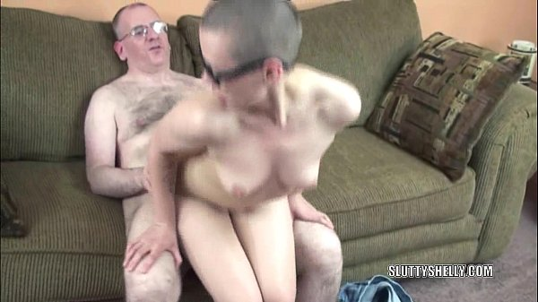 Slutty geek Shelly gets her tight muff fucked hard