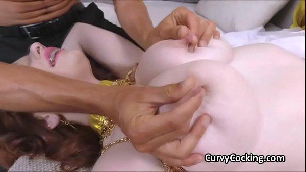 Big tit ginger ends oriental dance on cock