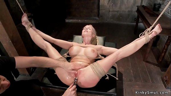 Busty slave in bondage anal toyed