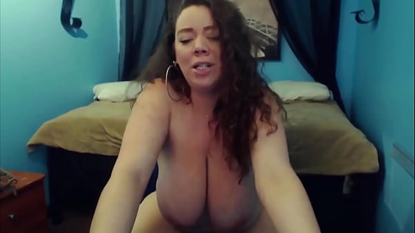Moaning curvy housewife Mariah with natural huge boobs
