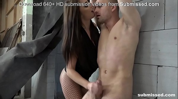 Femdom with skinny brunette and tied guy