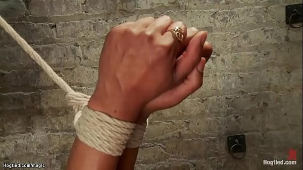Sweaty ebony in hogtie gets caned Thumb